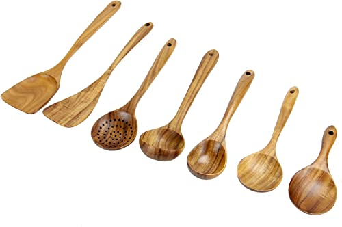 Ensemble de 7 ustensiles en teck | Ensembles d'ustensiles de cuisine | Cuillères en bois résistant aux égratignures |...