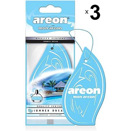 Areon Mon Auto Lufterfrischer Sommertraum Duft Anhänger Hängend Aufhängen Spiegel Blau Autoduft Pappe 2d Wohnung Summer Dream Set Pack X 6 Auto