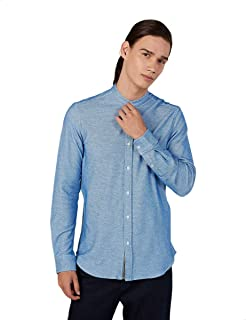Splash Plain Long Sleeves Mandarin Neck Cotton Shirt for Men