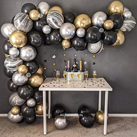 Black Gold Balloon Arch Kit, Black Gold Silver Agate Latex Balloons Garland Pack for Birthday Party Wedding Baby Shower Graduation Halloween, Great Gatsby Party, Ramadan Mubarak Home Decorations