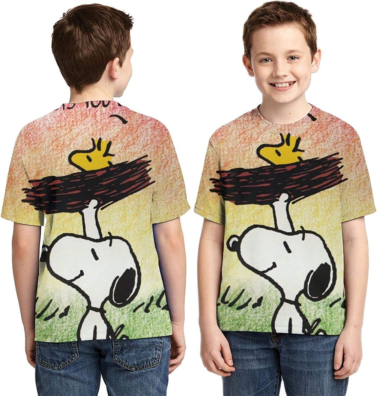 Summer Anime Snoopy Boy 3D Printing T-Shirt Unisex Round Neck Casual Cute T-Shirt Cool Cartoon Short-Sleeved Top T-Shirt