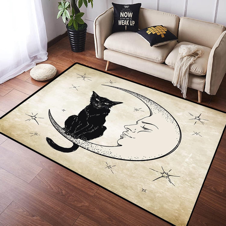 ZOMOY Long Floor Mat Carpet Dot Cat M Sitting Black Latest item On Engraving Fashionable