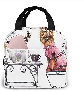 Yorkshire Terrier Tea Party Vlinders Rozen Lunchzak Draagtas Lunchbox Geïsoleerde lunchcontainer voor vrouw Man