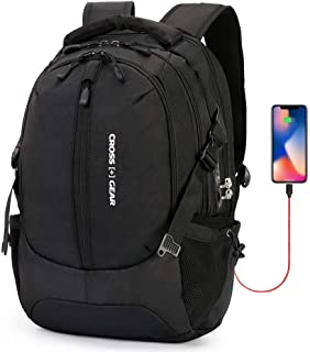 CROSSGEAR Backpack with USB Charging Port and Anti Theft Lock CR-1590IBK Black