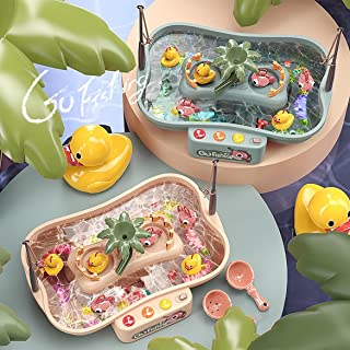 KIDSAVIA™ - New Live Water Fishing Game Toy Set, Music Water Table Floating Fish and Ducks with Swirl Water Pond and Fishi...