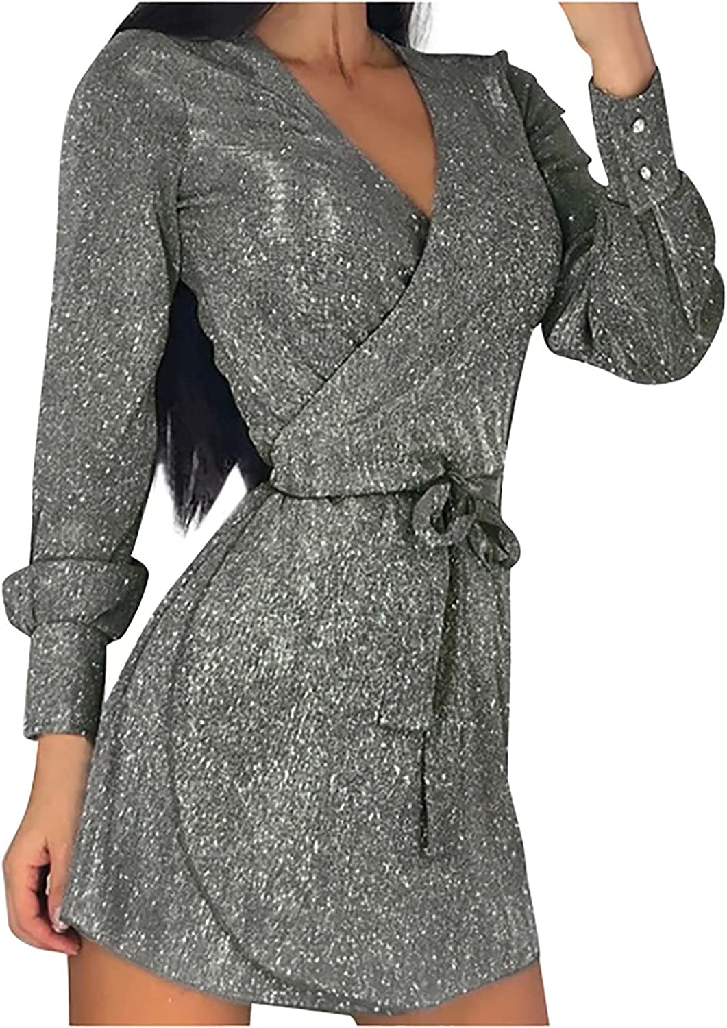 Womens Sexy Party Club Night Out Evening Mini Dresses Clubwear Fashion Sequin Sparkling Long Sleeve Bandage Dress