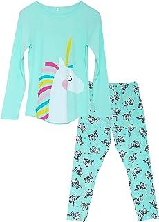 Girls Unicorn Pajamas - 100% Cotton Long Sleeve & Pants...