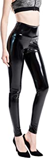 YGYEEG VISNXGI Black Faux Leather Pants for Women Shiny PU Leather Latex Hgih Waisted Leggings