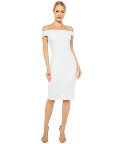 Adrianna Papell Off-the-Shoulder Crunchy Dress (Ivory/Ivory) Women