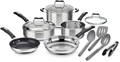 Cuisinart P87-12 Stainless Cookware 12 Piece Set with Specialty Tools, Silver