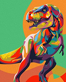 iFymei DIY Oil Painting Kit , Paint by Numbers for Adults & Kids & Beginner , 16 x 20 inch Canvas & Acrylic Paints - Colorful Dinosaurs