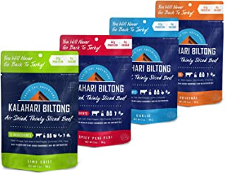 Variety Pack Kalahari Biltong, Air-Dried Thinly Sliced Beef, 2oz (Pack of 4), Sugar Free, Gluten Free, Keto & Paleo, High Protein Snack