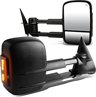 For Chevy Silverado/GMC Sierra GMT800 Pair Black Powered + Heated Smoked Signal + Manual Extendable Side Towing Mirrors