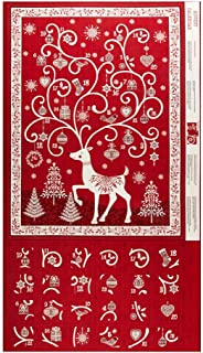 Andover Makower UK Scandi 2019 Scandi Advent Calendar Red Fabric