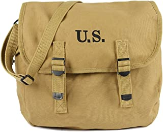 Oleader WW2 M1936 Musette Bag Backpack WWII US Army Style Haversack with Shoulder Strap Khaki Canvas