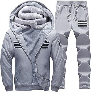 Goorape Mens Fleece Lined Sweatsuit Striped Casual Winter Coat Sports Tracksuit Darkblue S