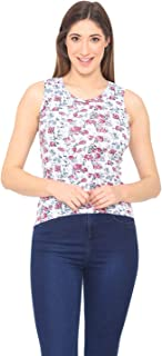 Bongio Women's Floral Prints Casual Summer Sleeveless T-Shirt