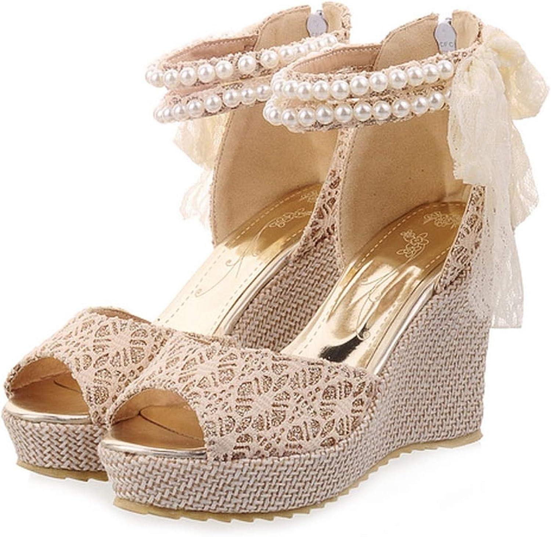 Ladies Platform shoes Sweet Lace Women's Wedges Sandals Pearl Ankle Strap High Heels Zipper Wedding shoes