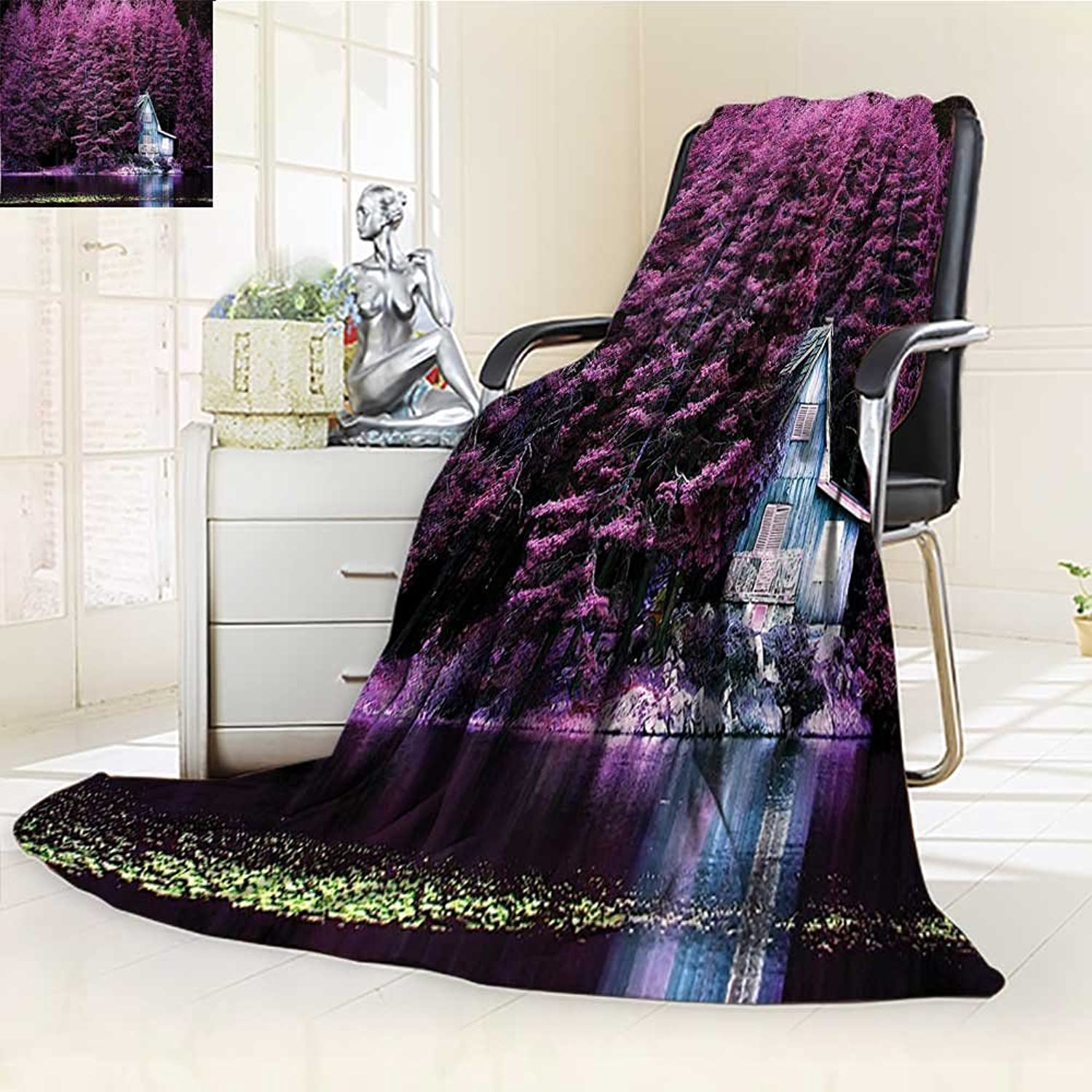 YOYI-HOME Digital Printing Duplex Printed Blanket by The Lake with bluee Wooden Rustic Lakehouse Lodge Romantic Spring Nature Purple Summer Quilt Comforter  W59 x H39.5