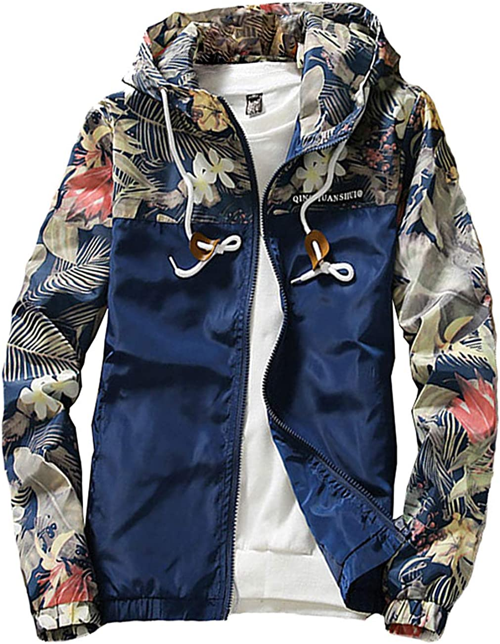 Rexcyril Men's Windbreaker Jacket L Ranking TOP17 Floral safety Hooded Bomber