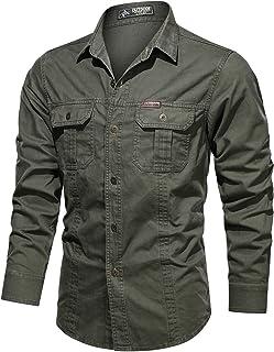 Cargoshirt voor heren Mode-revers Outdoor-training Campingtrend Grote zak met stiksels Basic Shirts met lange mouwen