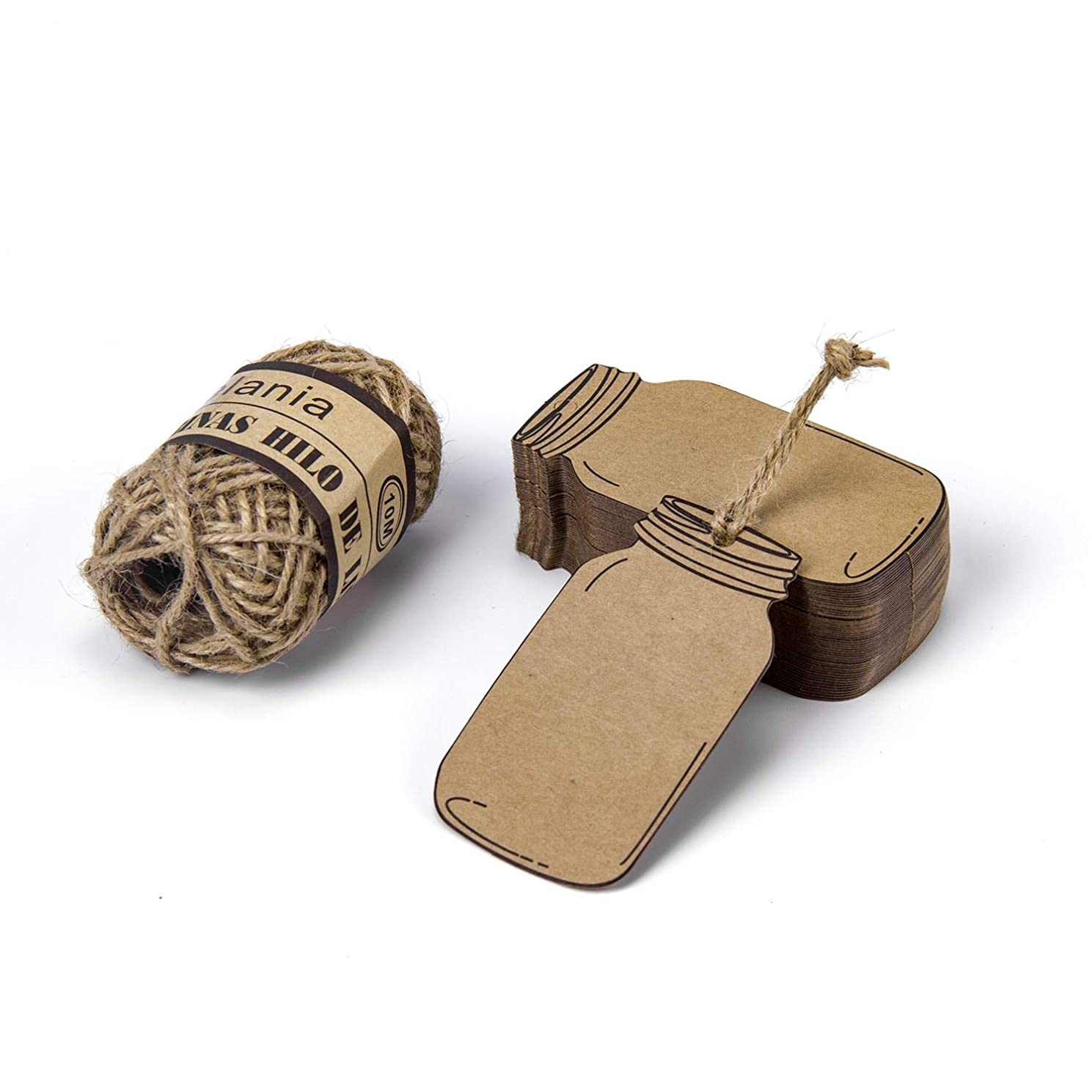 RUSPEPA Gift Tags with String - 50PCS Kraft Bottle Paper Tags with 32Feet Natural Jute Twine for Wedding, Baby Shower, Party Favors