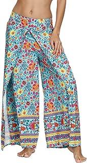 Mujer Hippie Largo Pantalones Dividir Pata Ancha Boho Patrones Sueltos Comodos Thai Yoga Pants Verano Playa