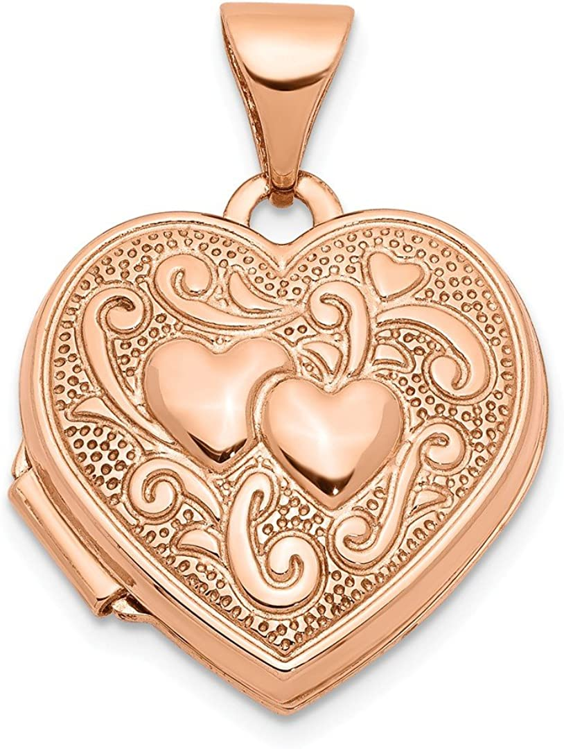 14k Rose Gold Textured Double Heart Scroll Design 15mm Photo Pendant Charm Locket Chain Necklace That Holds Pictures Fine Jewelry For Women Gifts For Her