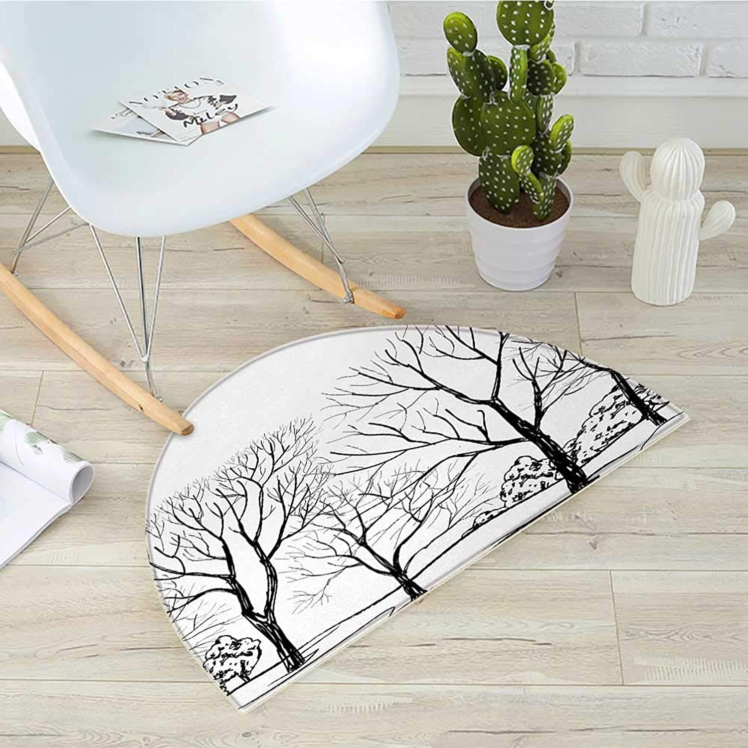 Landscape Half Round Door mats Tree Without Leaves Forest Branches Hand Drawn Illustration Autumn Landscape Bathroom Mat H 31.5  xD 47.2  Black White