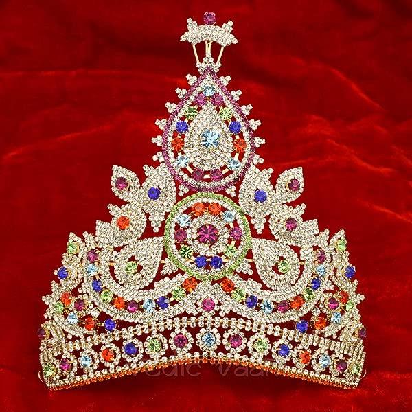 Vedic Vaani Handmade Designer Gemstones Mukut Beautiful Multicolour Decorative Crown For Puja Diwali Religious Festival To Deity Murthi Idol Statue
