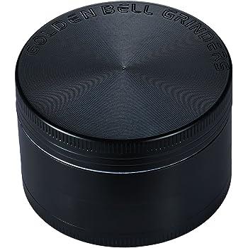 """Golden Bell 4 Piece 2"""" Spice Herb Grinder - Color:Black"""