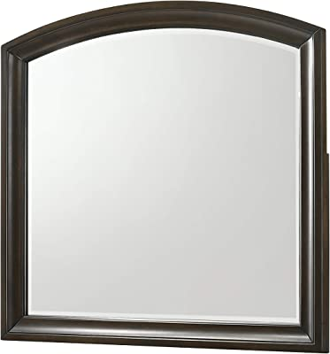 Benjara Arch Shape Dresser Top Beveled Mirror with Wooden Frame, Gray and Silver