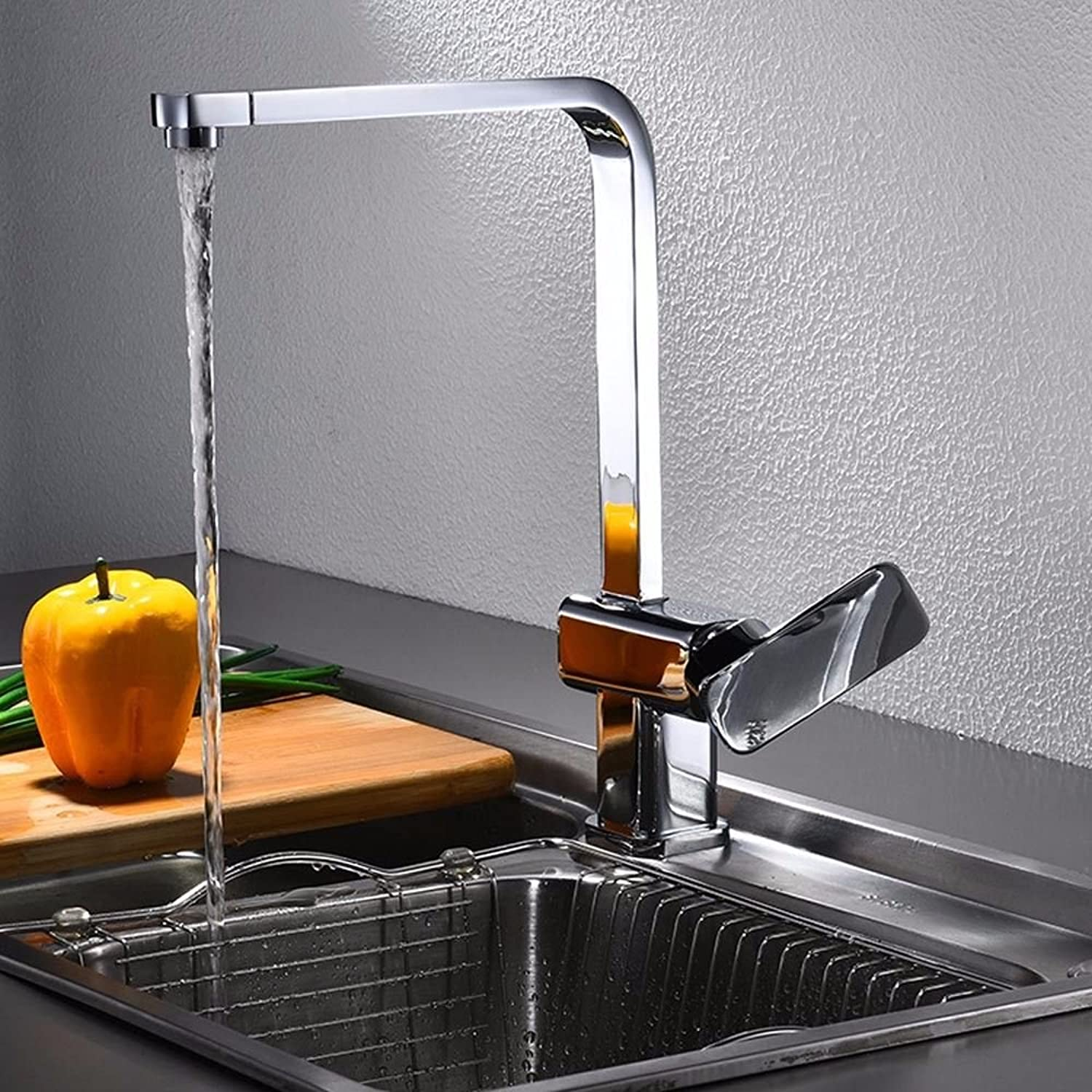 MulFaucet Kitchen Faucet All-Copper Single-Screw Square hot and Cold Mixed Water Sink Sink Faucet