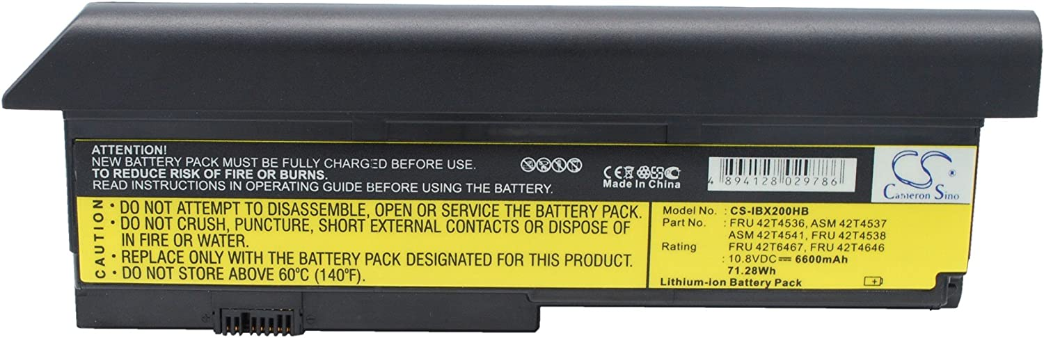 6600mAh 10.8V Battery Replacement for X200s Bargain Lenovo 7469 Selling ThinkPad