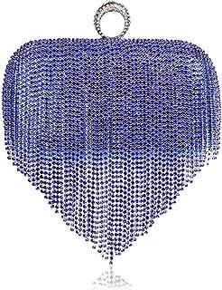 Redland Art Women's Fashion Sparkly Tassel Mini Clutch Bag Wristlet Evening Handbag Catching Purse Bag for Wedding Party (Color : Blue)