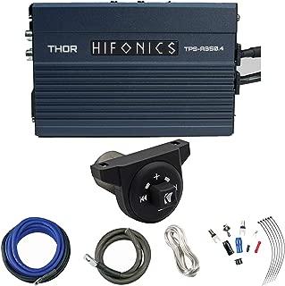 Enrock Marine Hifonics 350 Watt 2-Ohm Stable Compact 4 Channel Digital Amplifier, Kicker Weatherproof Universal Bluetooth Controller, 8 Gauge OFC Power Amplifier Installation Kit