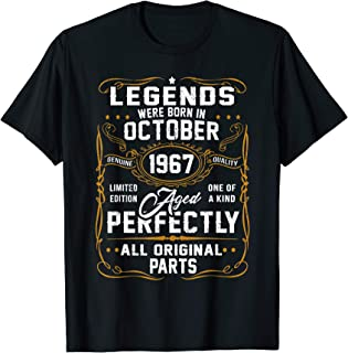 Legends Were Born In October 1967 52nd Birthday Gift T-Shirt