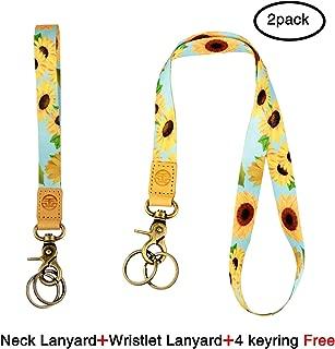 Neck and Wristlet Lanyard Keychain Holder with 4 Free Keyring (Sunflower)