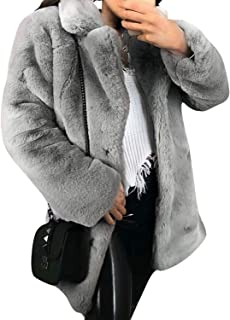 Women's Shaggy Faux Fur Coat Long Sleeve Thick Jacket Outwear with Pocket