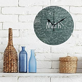 Limiejo Clock for School Math Education Complicated Mathematical Genius Non-Ticking Round Silent Diamond Display Wall Clocks Painting Dial Kitchen Bedroom Decor Wall Clocks