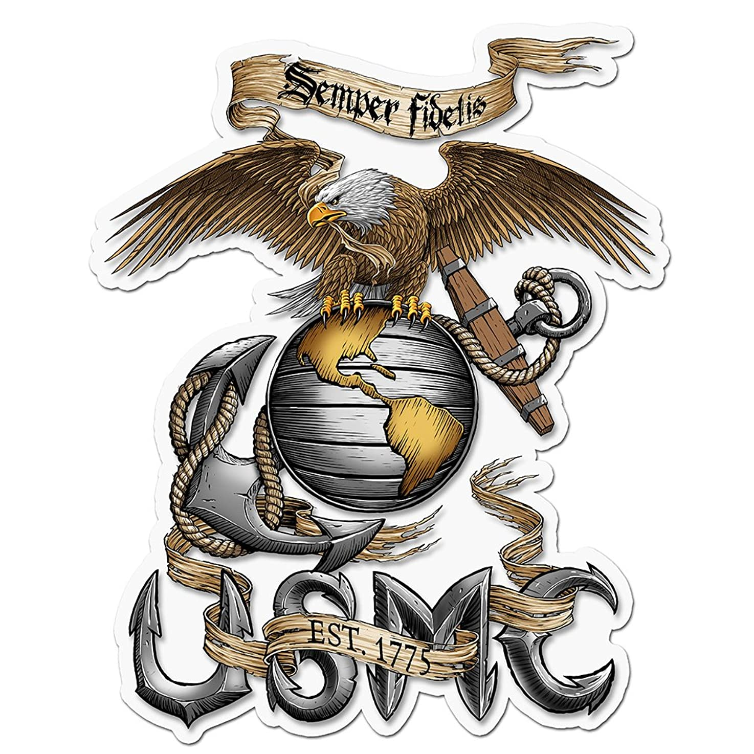 Collectible Marine Corps Decals (4in,2pack), Share your Appreciation and Support with our Vinyl Eagle USMC Stickers for your Home, Car, Cases and more, Souvenir Gifts for Marine Corps