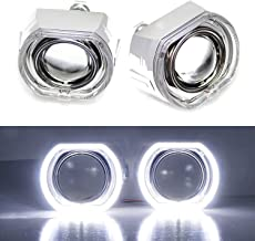 iJDMTOY (2) 3.0-Inch H1 Bi-Xenon HID Projector Lens w/DTM Style Square LED Halo Rings Daytime Running Light Shroud For Headlight Retrofit, Custom Headlamps Conversion