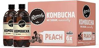 Remedy Raw Organic Kombucha - Sparkling Live Cultured Drink - Sugar Free Peach - 20 Fl Oz Bottle, 6-Pack