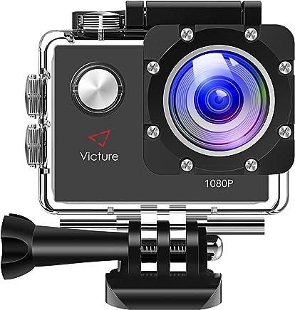 Victure Full HD Caméra Sport 1080P, Caméra Embarquée Sport 12MP, Appareil Photo Caméscope Étanche Plongée 30M avec Grand Angle 170°, 26 Kit d'Accessoires et Boîtier Étanche