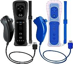 ZeroStory 2 pacotes de controle sem fio e Nunchuck para console Wii e Wii U, gamepad com capa de silicone e alça de pulso...