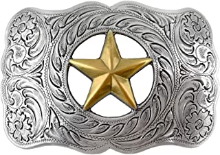 Antique Sterling Silver Finish Gold Texas Lone Star Belt Buckle