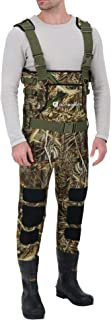 OUTBOUND Neoprene Chest Waders with Boots for Men & Women | Water-Proof Camo Fishing Waders with Belt & Hand Warmer Pocket...