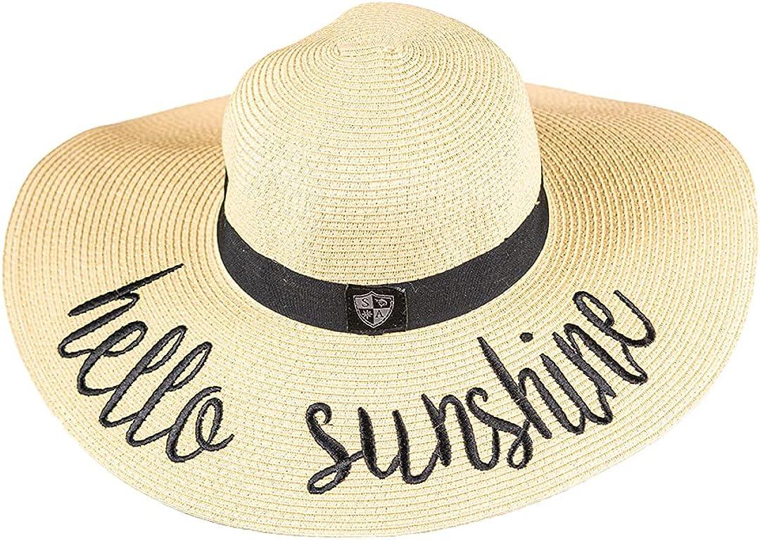 S A Company Womens Beach Floppy Straw Hat - UPF 50+ Floppy Sun Hat for Women - UPF 50+ Foldable Sun Hat