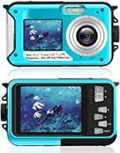 Underwater Camera Dual Screen 2.7K 24MP Waterproof Digital Camera HD Rechargeable Camera for Snorkeling, Camping, Underwater, Swiming (Blue)