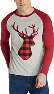 MODCHOK Men's Christmas Raglan Shirt Plaid Deer Baseball T-Shirt Crewneck Casual Tee Tops 1Red M